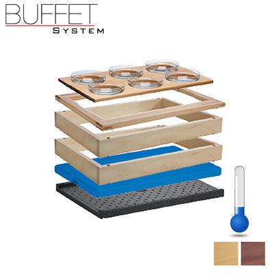 Bufetový modul 1/1 chlazený 6 misek, tmavý buk - 13,0 cm - 2