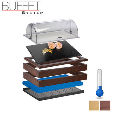Bufetový modul 1/1 chlazený s břidlicí s rolltopem, tmavý buk - 13 cm - 2
