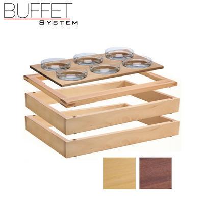 Bufetový modul 1/1 se 6 miskami, tmavý buk - 6,5 cm - 2