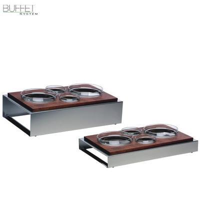 Bufetový modul 4 nerez - 4 misky, tmavý buk - 13 cm - 57 x 36 cm - 2