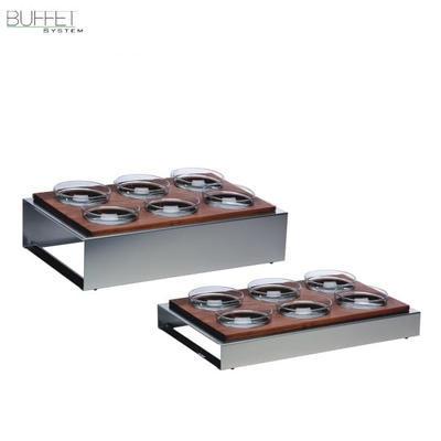 Bufetový modul 6 nerez - 6 misek, světlý buk - 13 cm - 57 x 36 cm - 2