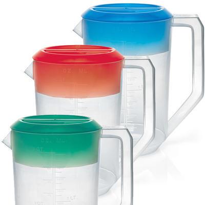Odměrka plastová s barevným víkem, 1,8 l - 12,5 x 20,5 cm / 100 ml - modré víčko - 2