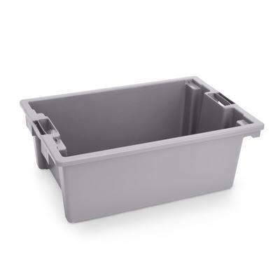 Přepravní a skladovací box šedý, 55 x 40 x 22 cm - 66 x 45 x 23 cm - box bez víka - 2