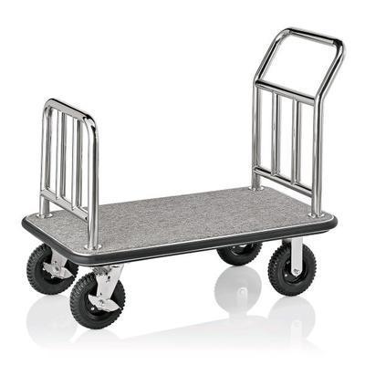 Recepční vozík plošinový, barva ocelová / bordó - 113 x 61,5 x 98 cm - 2