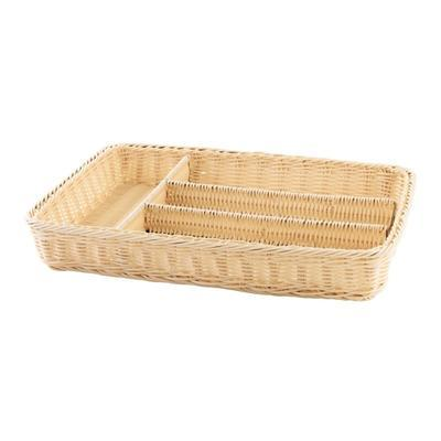 Košík na příbory 4 přihrádky, hnědý - 40 x 30 x 6,5 cm - 3