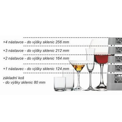 Koš do myčky na sklenice 49 přihrádek, 60 x 60 mm - 81 mm - 102 mm - 3