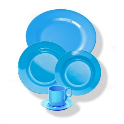 Talíř mělký melamin barevný, modrý - 20 cm - 3