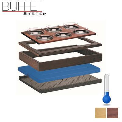 Bufetový modul 1/1 chlazený 6 misek, tmavý buk - 13,0 cm - 3