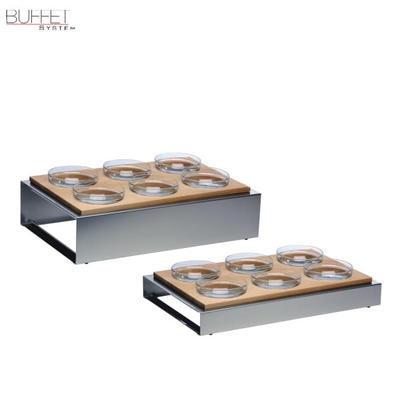 Bufetový modul 6 nerez - 6 misek, světlý buk - 13 cm - 57 x 36 cm - 3