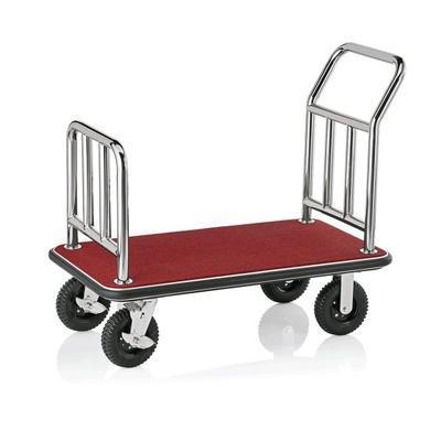 Recepční vozík plošinový, barva ocelová / bordó - 113 x 61,5 x 98 cm - 3