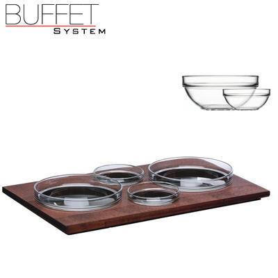 Bufetový modul 4 nerez - 4 misky, nerez - tmavý/4misky - 6,5 cm - 4