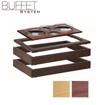 Bufetový modul 1/1 se 4 miskami, tmavý buk GN 1/1 - 6,5 cm - 4