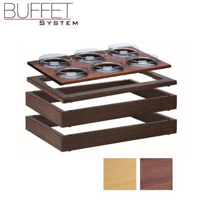 Bufetový modul 1/1 se 6 miskami, tmavý buk - 6,5 cm - 4