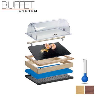 Bufetový modul 1/1 chlazený s břidlicí s rolltopem, tmavý buk - 2 x 6,5 cm - 4