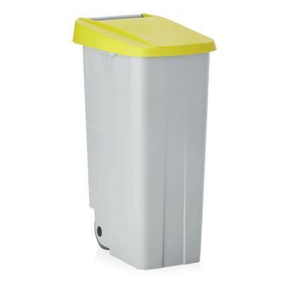 Odpadkový koš 85 a 110 l s víkem, 85 l - 40 x 57 x 76 cm - žluté víko - 4