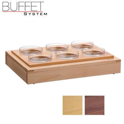 Bufetový modul 1/1 se 6 miskami, tmavý buk - 6,5 cm - 5