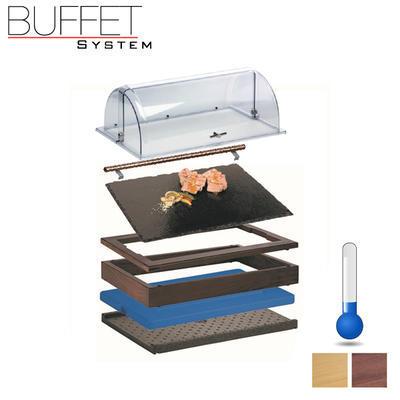 Bufetový modul 1/1 chlazený s břidlicí s rolltopem, tmavý buk - 2 x 6,5 cm - 5