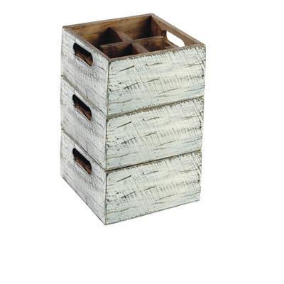 Box dřevěný s přihrádkami Vintage, 17 x 17 x 10 cm - 4 - 6